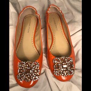 Adrienne Vittadini Orange Jeweled Flats